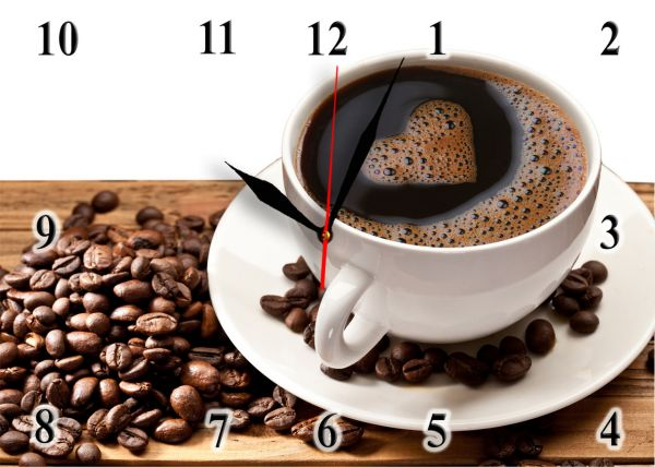 """Годинник настінний скляний """"Кава з сердечком"""""""